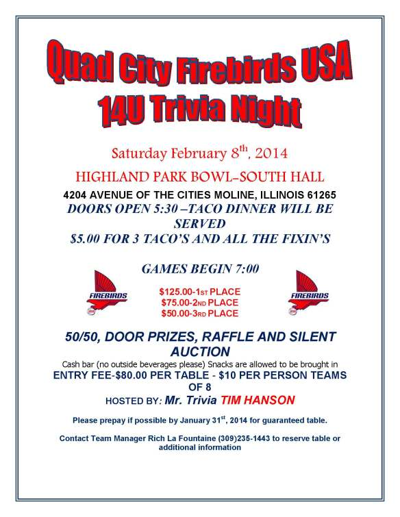 14U Firebirds USA Trivia Night Flyer
